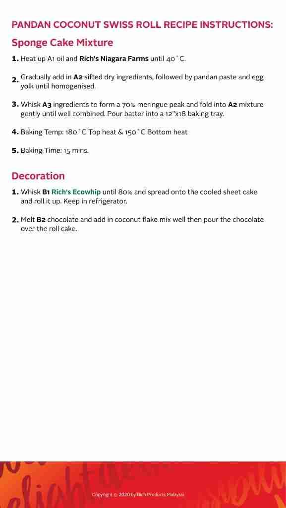 Pandan Coconut Swiss Roll Recipe