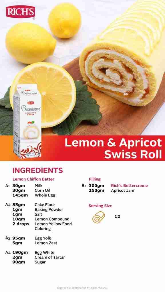 Lemon & Apricot Swiss Roll Recipe